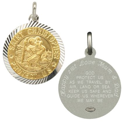 Sterling Silver and Gold Plated 21mm Diamond Cut St Christopher Pendant With Travellers Prayer & Optional Engraving