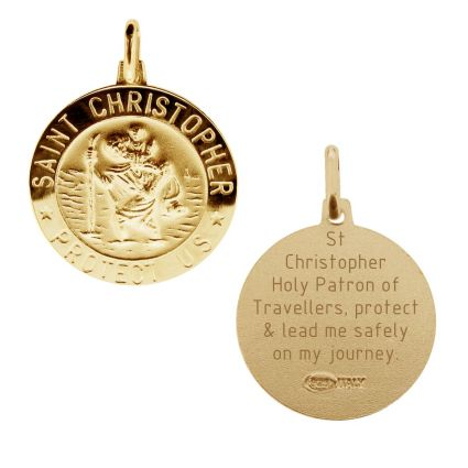 9ct Yellow Gold 18mm 3D St Christopher Pendant With Travellers Prayer