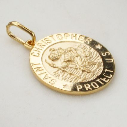 9ct Yellow Gold Plated 18mm 3D St Christopher Pendant