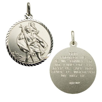 Sterling Silver Diamond Cut 20mm St Christopher Pendant With Travellers Prayer
