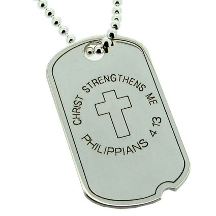 Sterling Silver Large Dog Tag With Cross On Chain