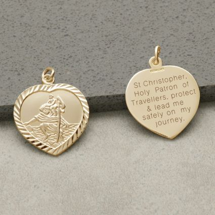 9ct Yellow Gold Diamond Cut Heart St Christopher Pendant With Travellers Prayer and Optional Chain