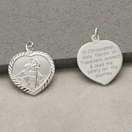 Sterling Silver Diamond Cut Heart St Christopher Pendant With Travellers Prayer and Optional Chain
