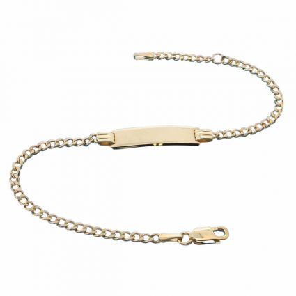 9ct Yellow Gold Childrens Curb ID Bracelet With Optional Engraving
