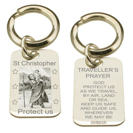 Sterling Silver Photo Engraved St Christopher Keyring With Travellers Prayer