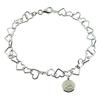 Sterling Silver Charm Bracelet With St Christopher Charm & Optional Engraving