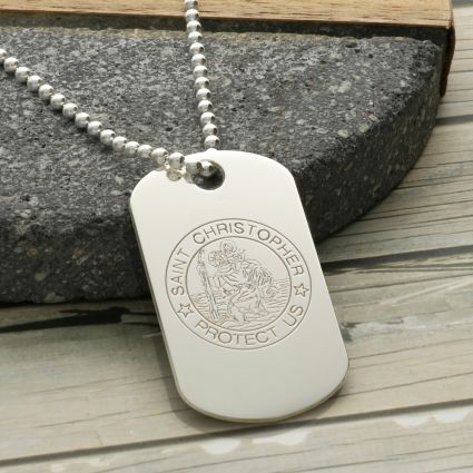 Sterling Silver St Christopher Dog Tag With Optional Engraving and Chain