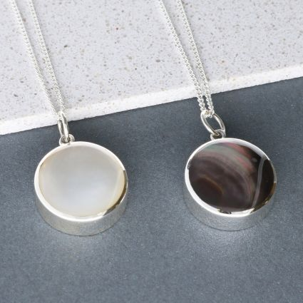 Sterling Silver Round Mother Of Pearl Urn Cremation Ashes Pendant With Optional Engraving & Chain