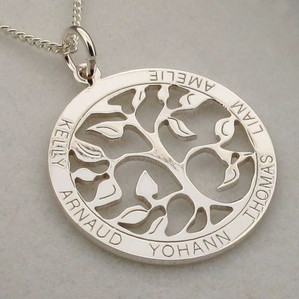 9ct White Gold Filigree Tree of Life Disc Personalised Family Necklace