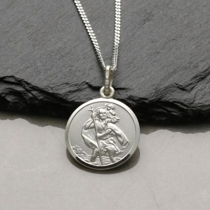 Sterling Silver 16mm St Christopher Pendant With Optional Engraving and Chain