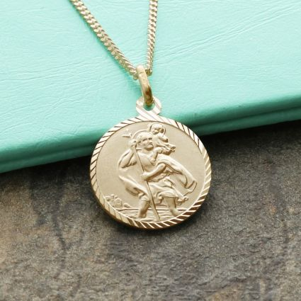 9ct Yellow Gold Plated Diamond Cut 16mm St Christopher Pendant With Optional Engraving and Chain