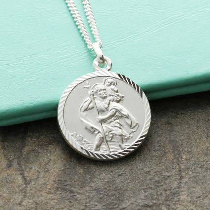 9ct White Gold Diamond Cut 18mm St Christopher Pendant With Optional Engraving and Chain
