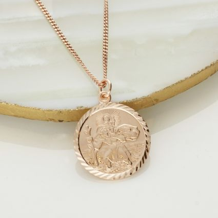 9ct Rose Gold Plated Diamond Cut 19mm St Christopher Pendant With Optional Engraving and Chain