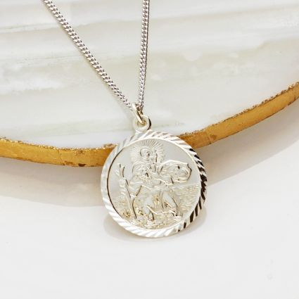 Sterling Silver Diamond Cut 19mm St Christopher Pendant With Optional Engraving and Chain