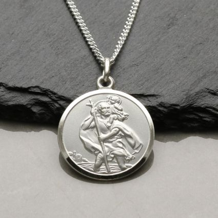 Sterling Silver 20mm St Christopher Pendant With Optional Engraving and Chain