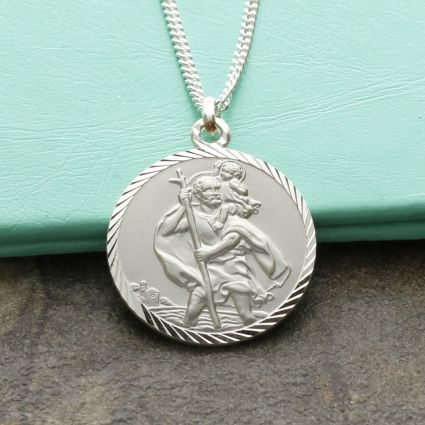 Sterling Silver Diamond Cut 20mm St Christopher Pendant With Optional Engraving and Chain