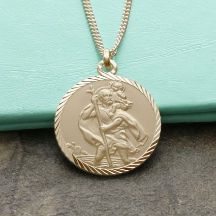 9ct Yellow Gold Plated Diamond Cut 20mm St Christopher Pendant With Optional Engraving and Chain