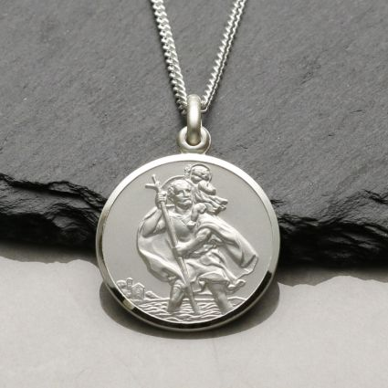 Sterling Silver 22mm St Christopher Pendant With Optional Engraving and Chain
