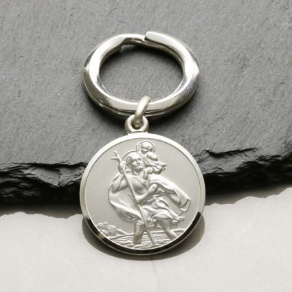 Sterling Silver 24mm St Christopher Keyring With Optional Engraving