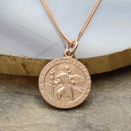 9ct Rose Gold 16mm 3D St Christopher Pendant With Optional Engraving and Chain