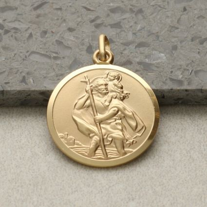 9ct Yellow Gold 20mm St Christopher Pendant With Optional Engraving and Chain