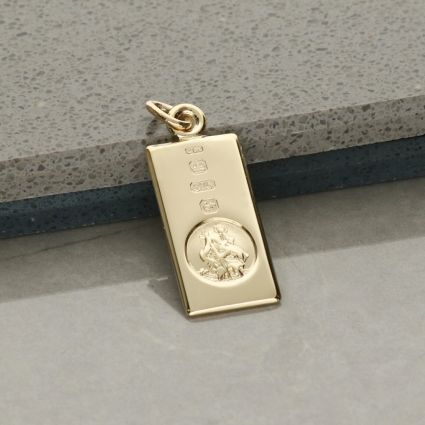9ct Yellow Gold Custom Hallmarked Small St Christopher Ingot With Optional Engraving and Chain