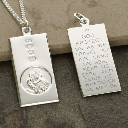 Sterling Silver Custom Hallmarked Large St Christopher Ingot With Travellers Prayer and Optional Chain