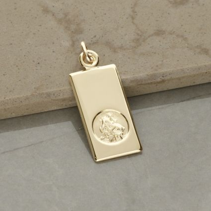 9ct Yellow Gold Small St Christopher Ingot With Optional Engraving and Chain