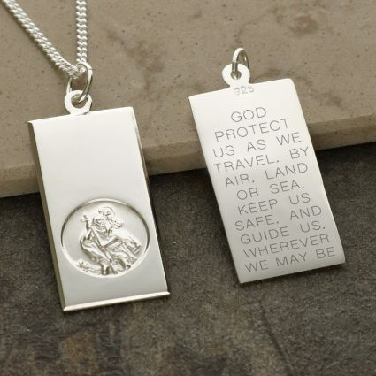 Sterling Silver Large St Christopher Ingot With Travellers Prayer Optional Engraving and Chain