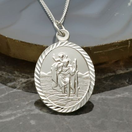 Sterling Silver Diamond Cut Large Oval St Christopher Pendant With Optional Engraving and Chain