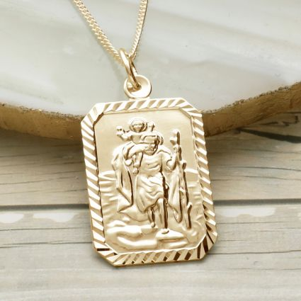 9ct Yellow Gold Plated Diamond Cut Large Rectangle St Christopher Pendant With Optional Engraving and Chain