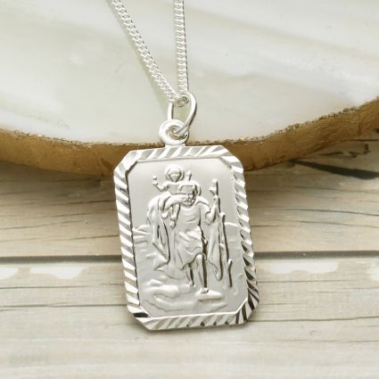 Sterling Silver Diamond Cut Rectangle St Christopher Pendant With Optional Engraving and Chain