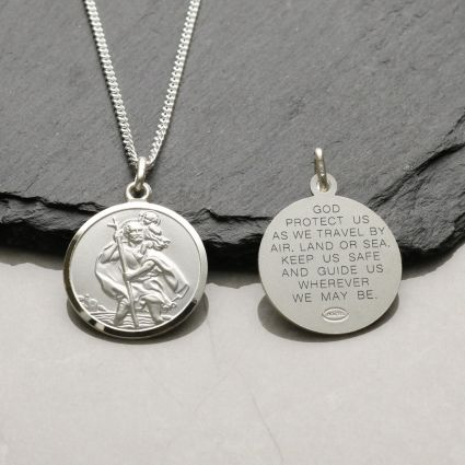 Sterling Silver 20mm St Christopher Pendant With Travellers Prayer and Optional Chain