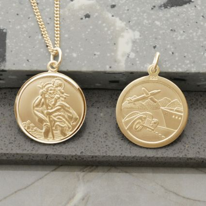 9ct Yellow Gold Plated Round Reversible St Christopher Pendant With Optional Chain