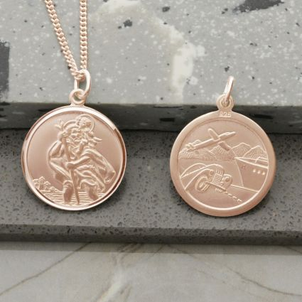 9ct Rose Gold Plated Round Reversible St Christopher Pendant With Optional Chain