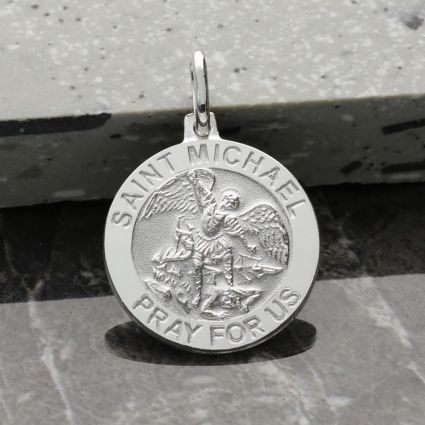 Sterling Silver St Michael Medal With Optional Engraving and Chain