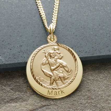 9ct Yellow Gold Personalised St Christopher With Concealed Travellers Prayer