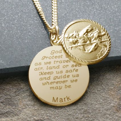 9ct Yellow Gold Plated Personalised St Christopher With Concealed Travellers Prayer