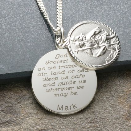 Sterling Silver Personalised St Christopher With Concealed Travellers Prayer