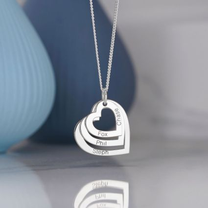 9ct White Gold Triple Heart Personalised Family Necklace