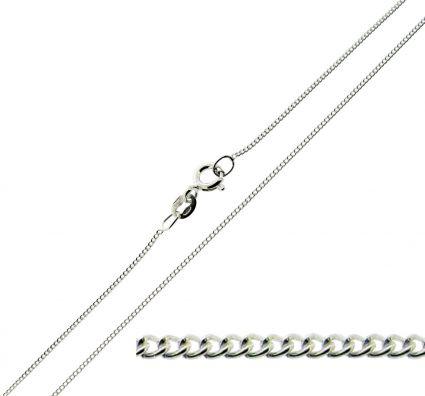 9ct White Gold 1mm Diamond Cut Curb Chain