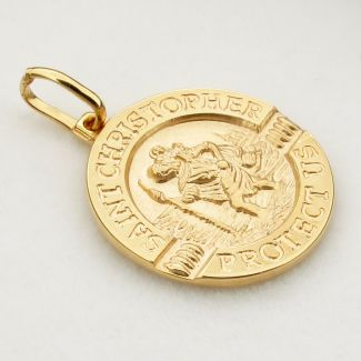 9ct Yellow Gold 18mm 3D Split St Christopher Pendant With Travellers Prayer on back