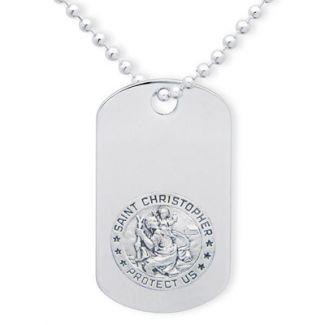Sterling Silver Large Engraved St Christopher Dog Tag