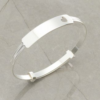 Sterling Silver Cut Out Heart Expandable Baby ID Bangle