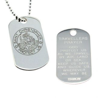 Sterling Silver Large Engraved St Christopher Dog Tag With Travellers Prayer Optional Front Engraving and Chain