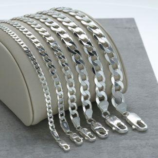 Sterling Silver Flat Diamond Cut Open Link Curb Chain
