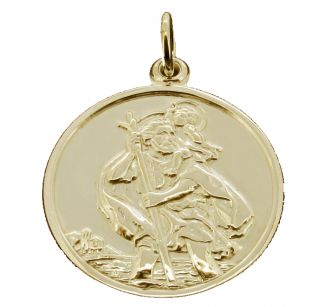 9ct Yellow Gold Round Reversible St Christopher Pendant
