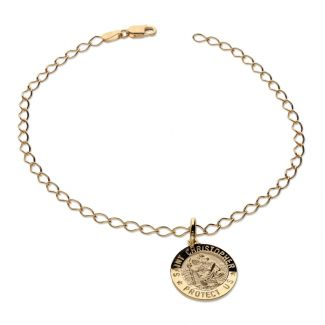 9ct Yellow Gold Curb Bracelet With 15mm St Christopher & Optional Engraving