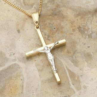9ct Yellow Gold & 9ct White Gold Hollow Crucifix Pendant and Optional Chain