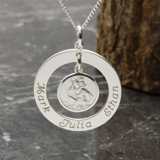 Sterling Silver Personalised Family Necklace with Hanging St Christopher Medal